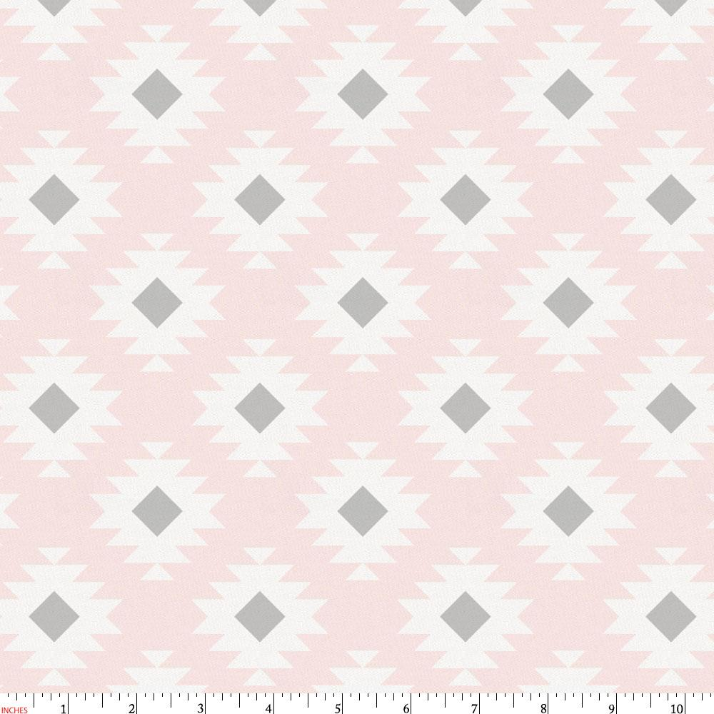Product image for Blush Pink and Gray Aztec Fabric