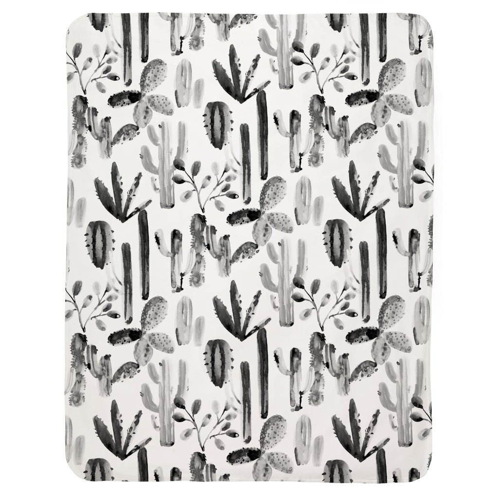 Product image for Charcoal Painted Cactus Baby Blanket