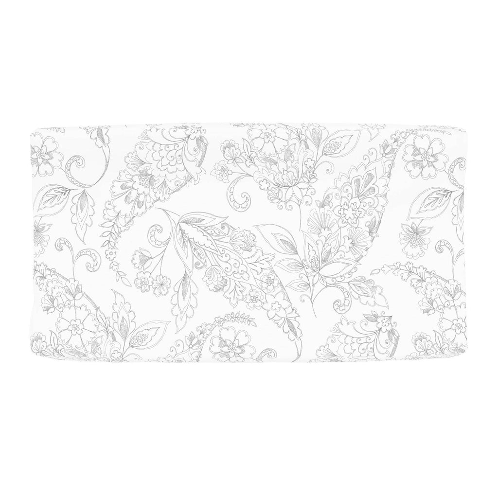Product image for Cloud Gray Sketchbook Floral Changing Pad Cover