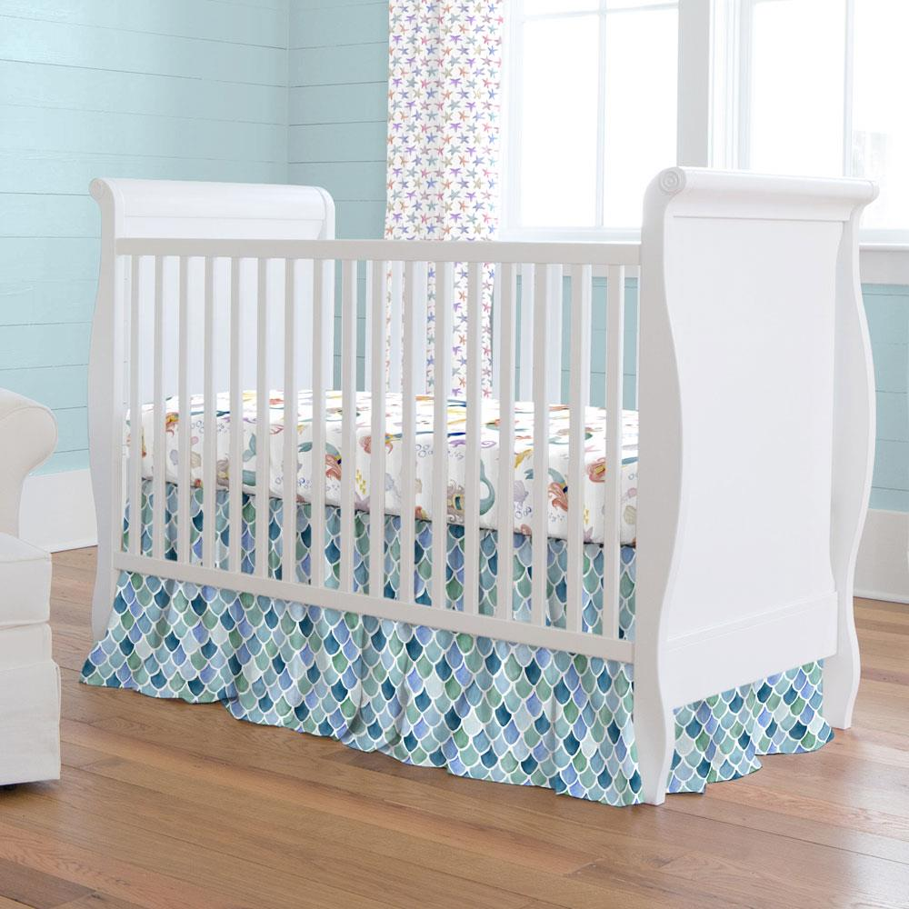Product image for Blue Watercolor Scales Crib Skirt Gathered