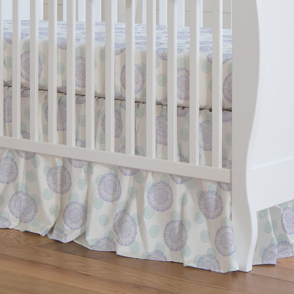 Product image for Lilac and Mist Dandelion Crib Skirt Gathered