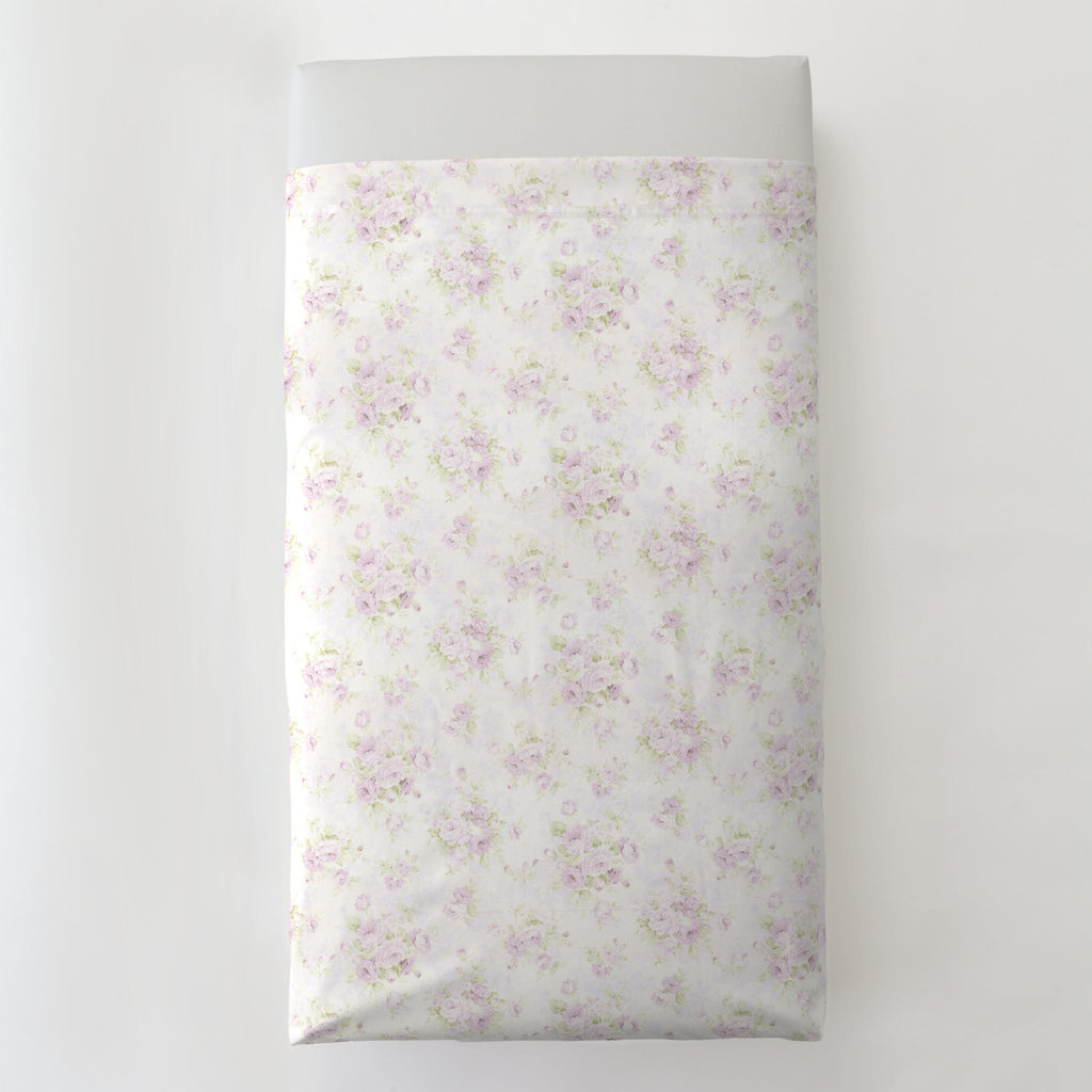 Product image for Lavender Floral Toddler Sheet Top Flat
