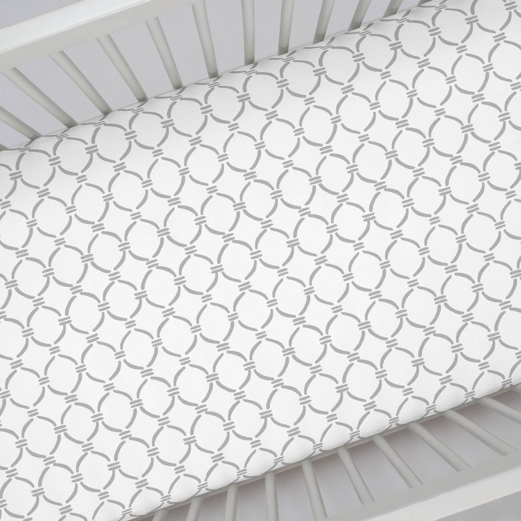 Product image for Silver Gray Lattice Circles Crib Sheet