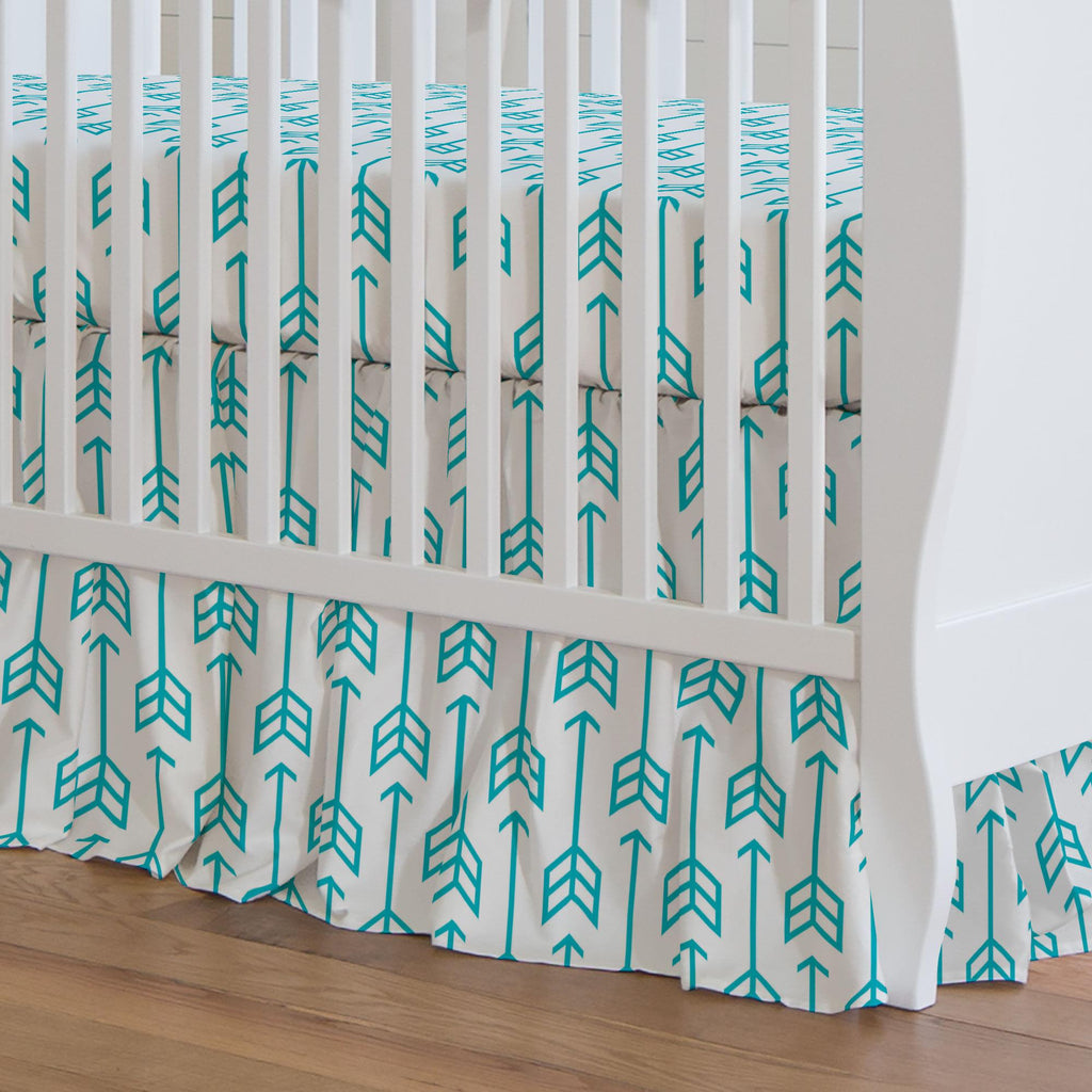 Product image for Teal Arrow Crib Skirt Gathered