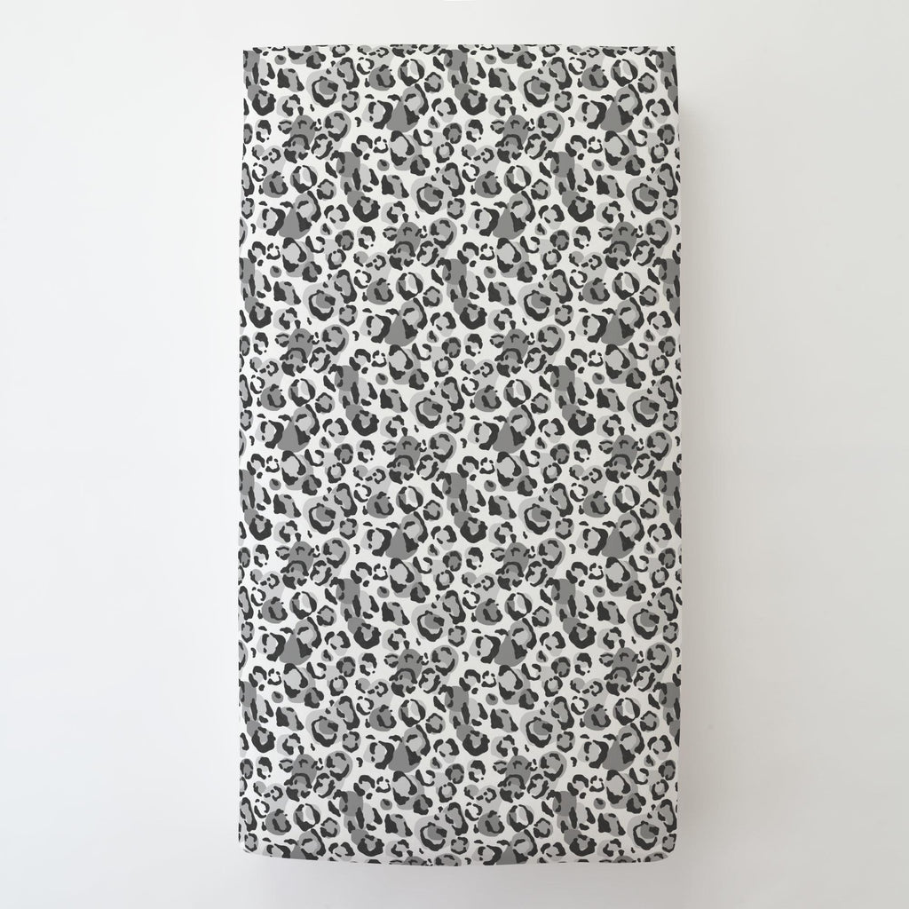 Product image for Gray Leopard Toddler Sheet Bottom Fitted