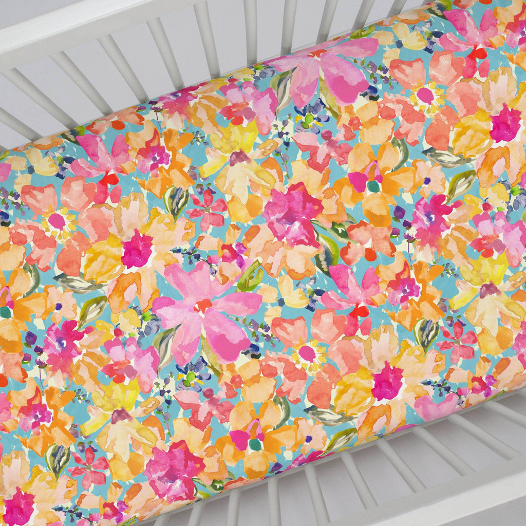 Product image for Coral Flower Bouquet Crib Sheet