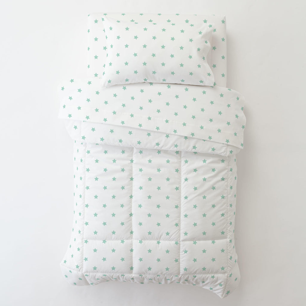 Product image for Mint Stars Toddler Pillow Case with Pillow Insert
