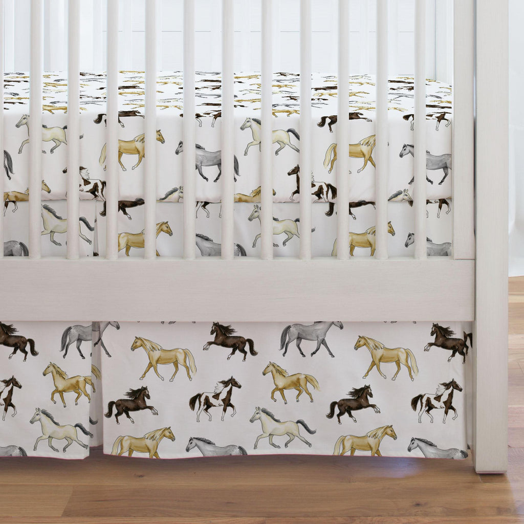 Product image for Watercolor Horses Crib Skirt Single-Pleat