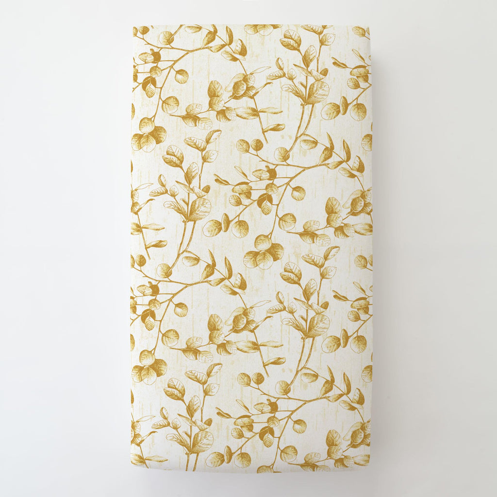 Product image for Mustard Yellow Eucalyptus Toddler Sheet Bottom Fitted