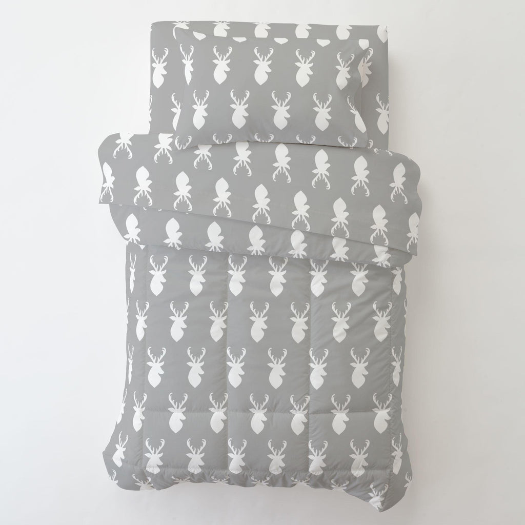 Product image for Silver Gray and White Deer Head Toddler Pillow Case with Pillow Insert