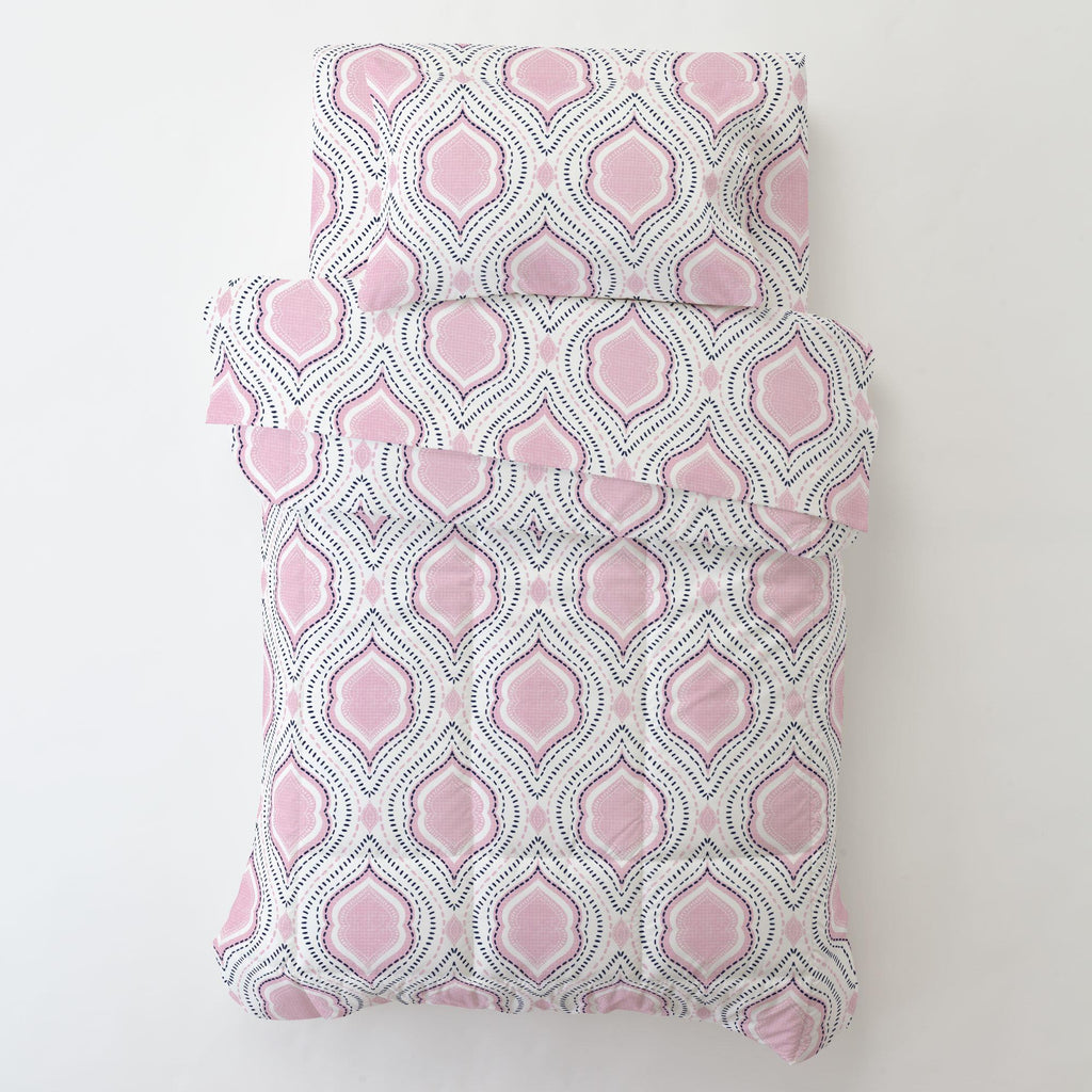 Product image for Pink and Navy Moroccan Damask Toddler Comforter