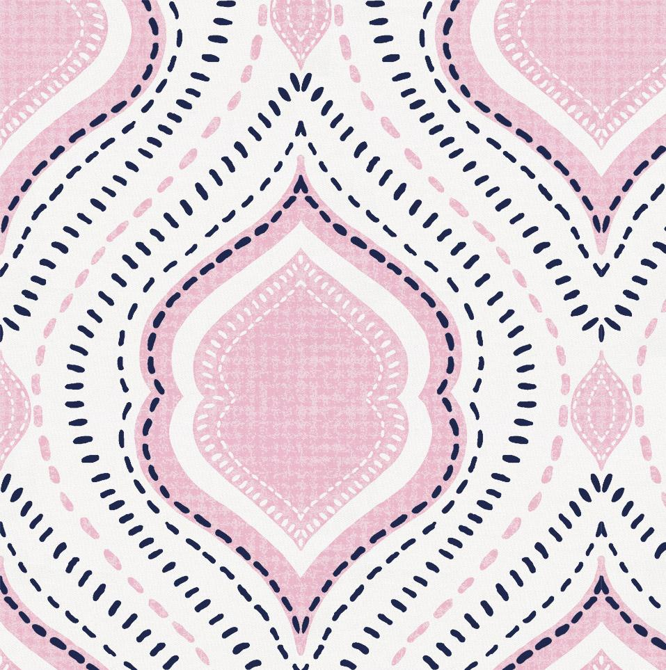 Product image for Pink and Navy Moroccan Damask Throw Pillow