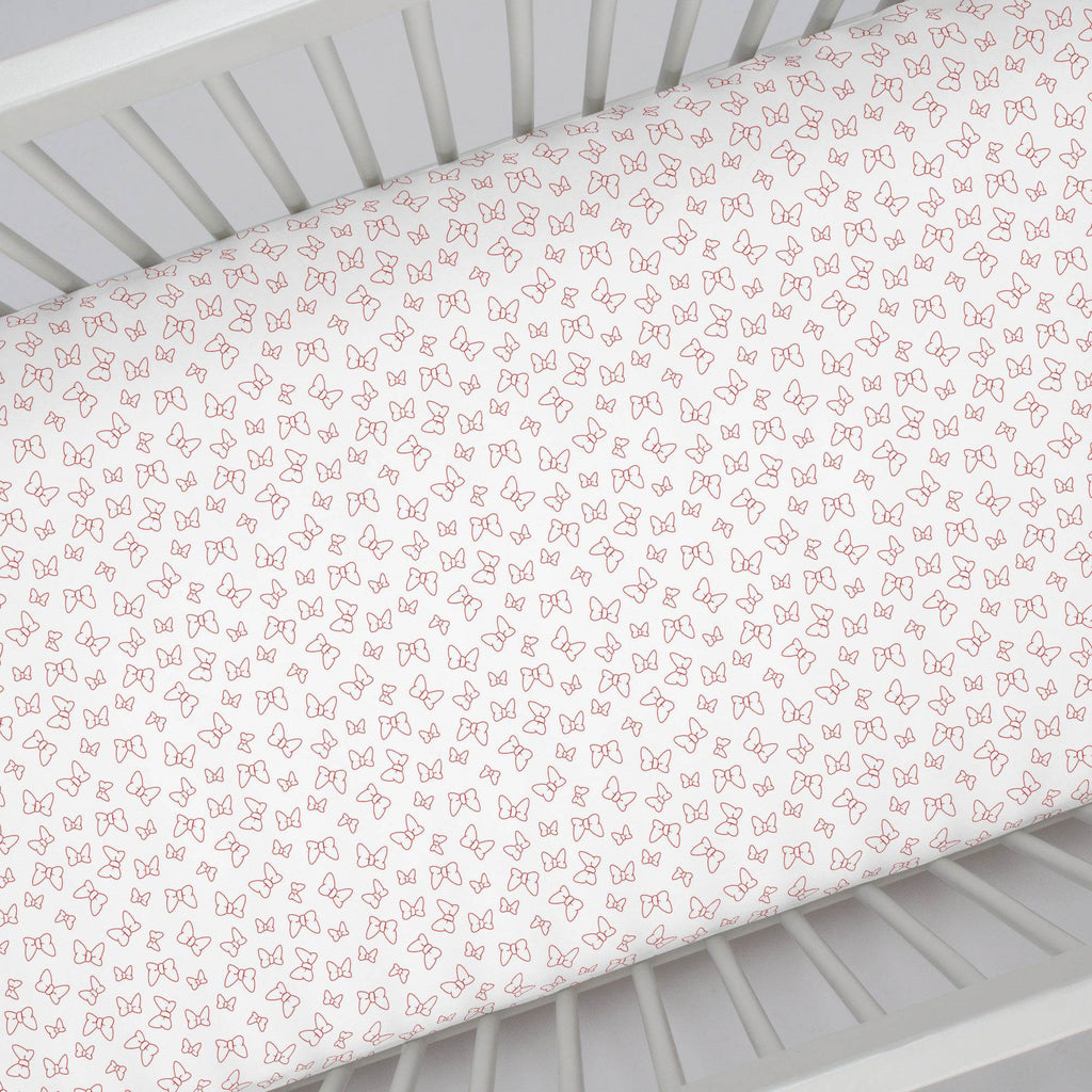 Product image for Disney© Red Minnie Bows Crib Sheet