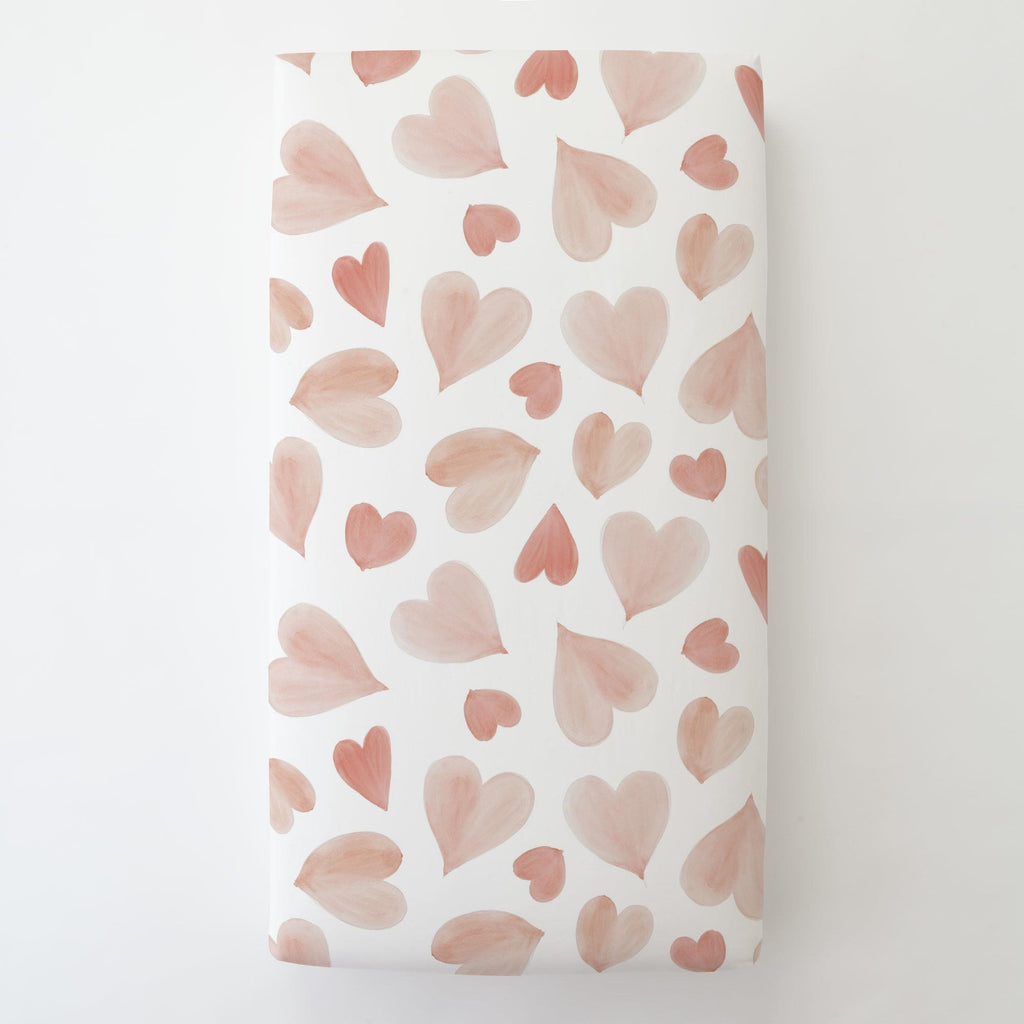 Product image for Peach Watercolor Hearts Toddler Sheet Bottom Fitted