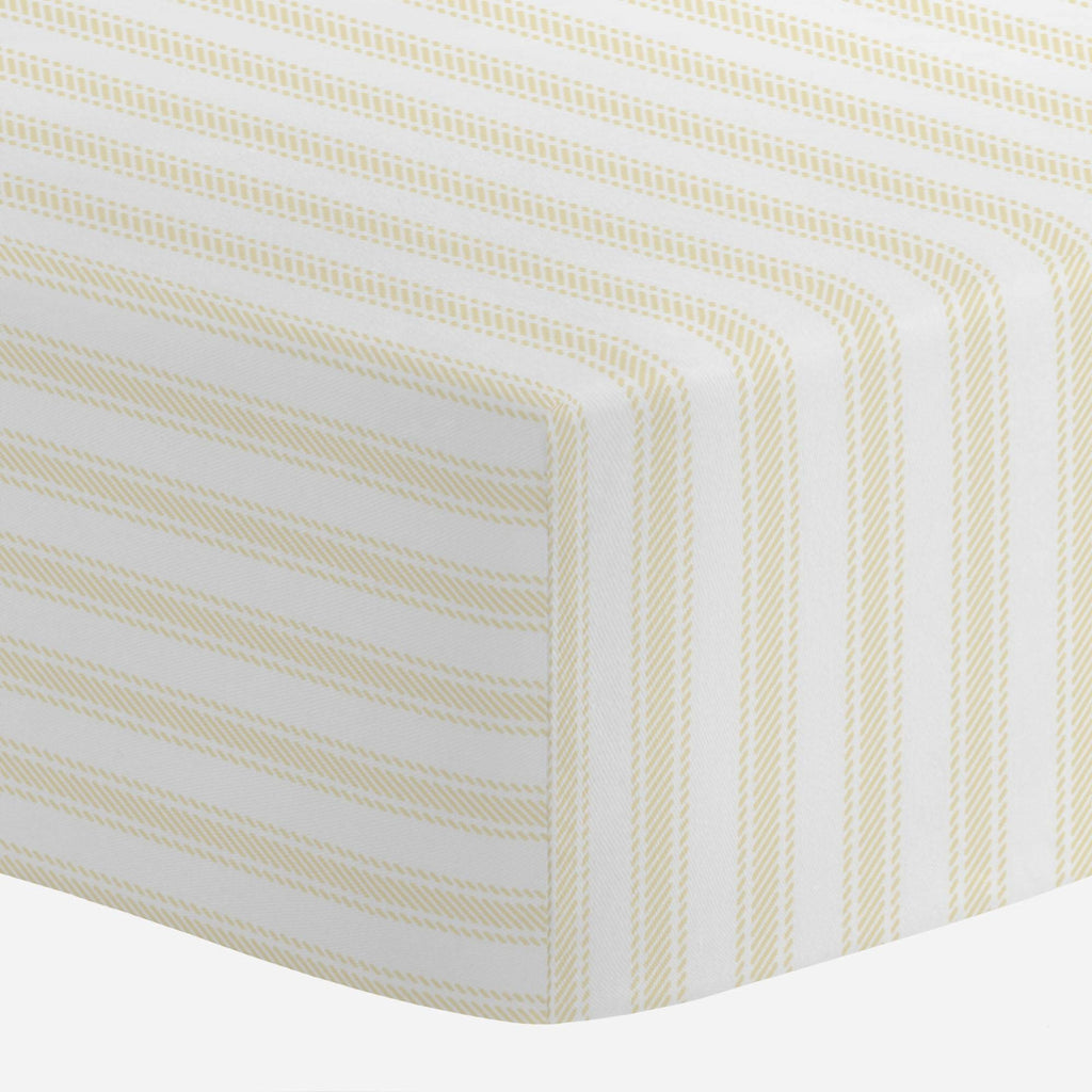Product image for Pale Yellow Ticking Stripe Mini Crib Sheet