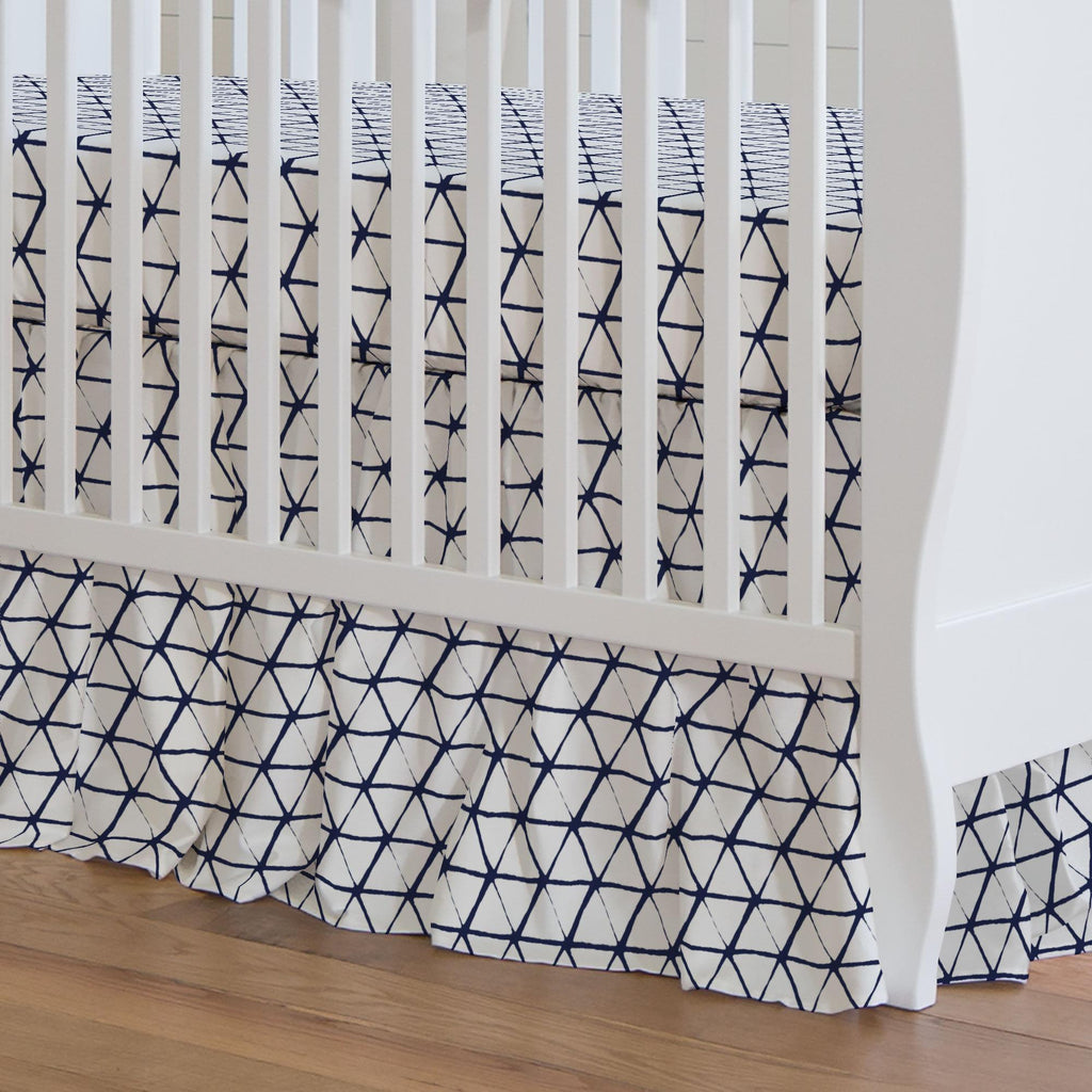 Product image for White and Navy Aztec Triangles Crib Skirt Gathered