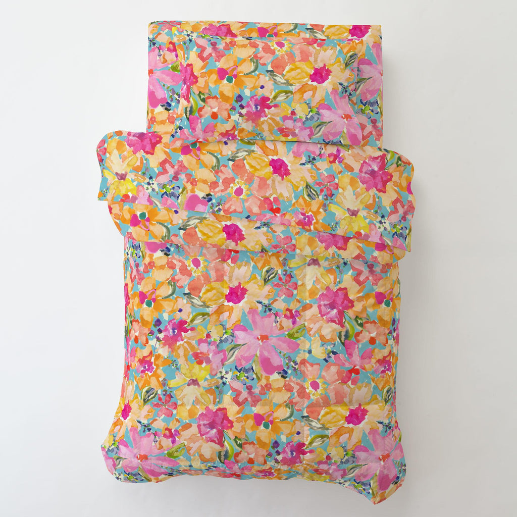Product image for Coral Flower Bouquet Toddler Comforter