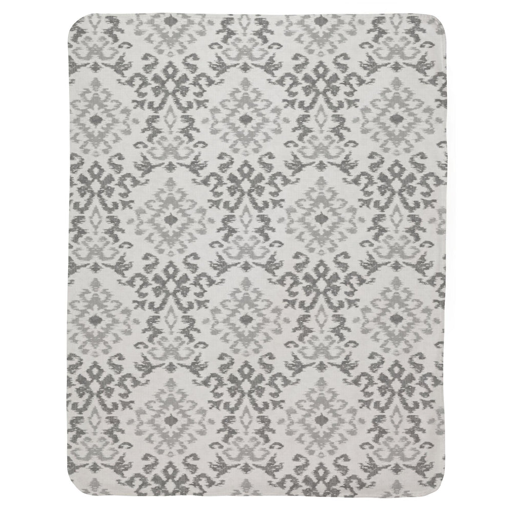 Product image for Gray Ikat Damask Baby Blanket