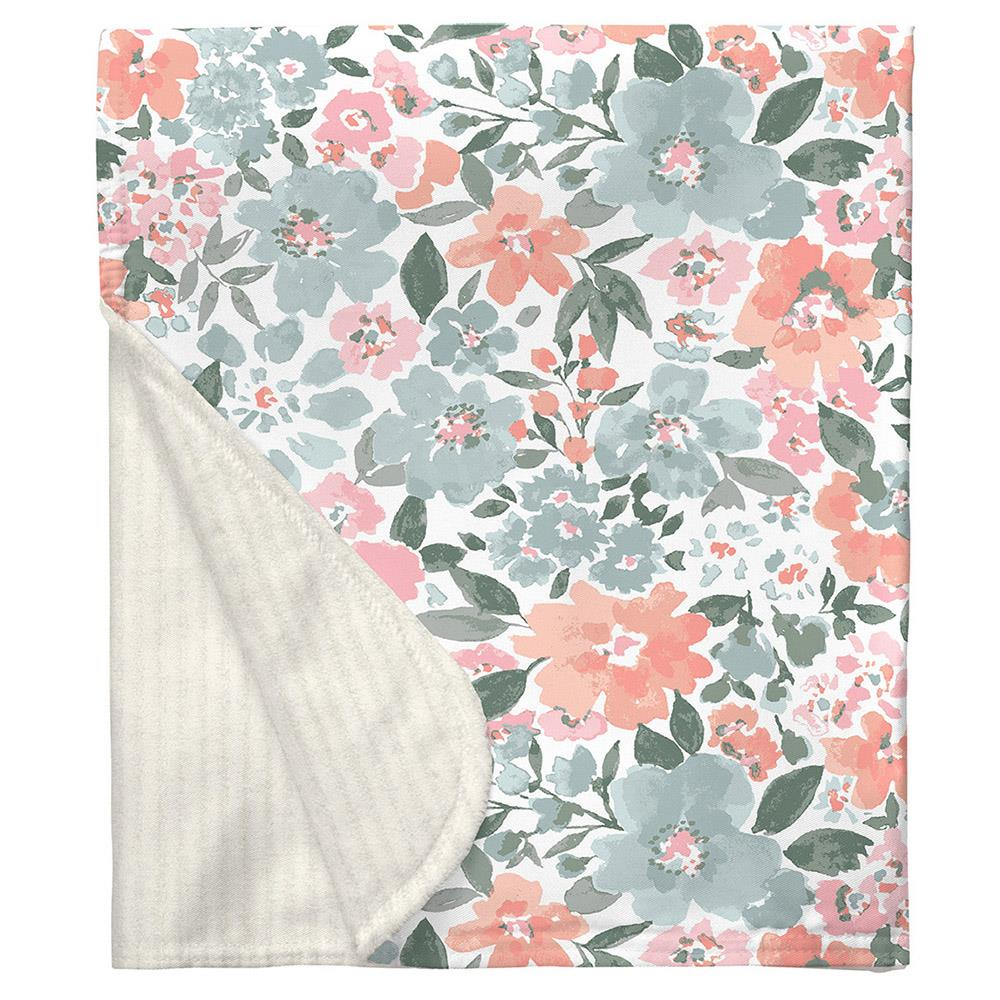 Product image for Peach Prairie Floral Baby Blanket
