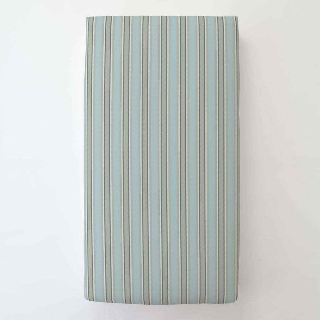Product image for Mist and Gray Stripe Toddler Sheet Bottom Fitted