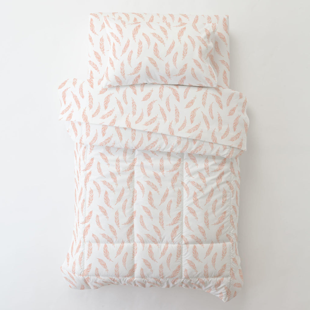 Product image for Peach Hand Drawn Feathers Toddler Comforter