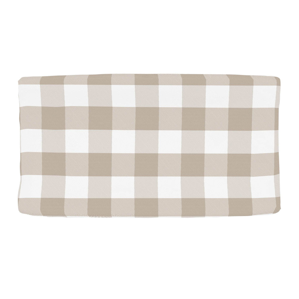Product image for Taupe and White Buffalo Check Changing Pad Cover
