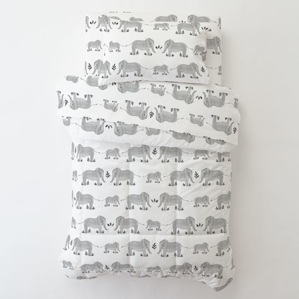 Product image for Gray Painted Elephants Toddler Pillow Case with Pillow Insert