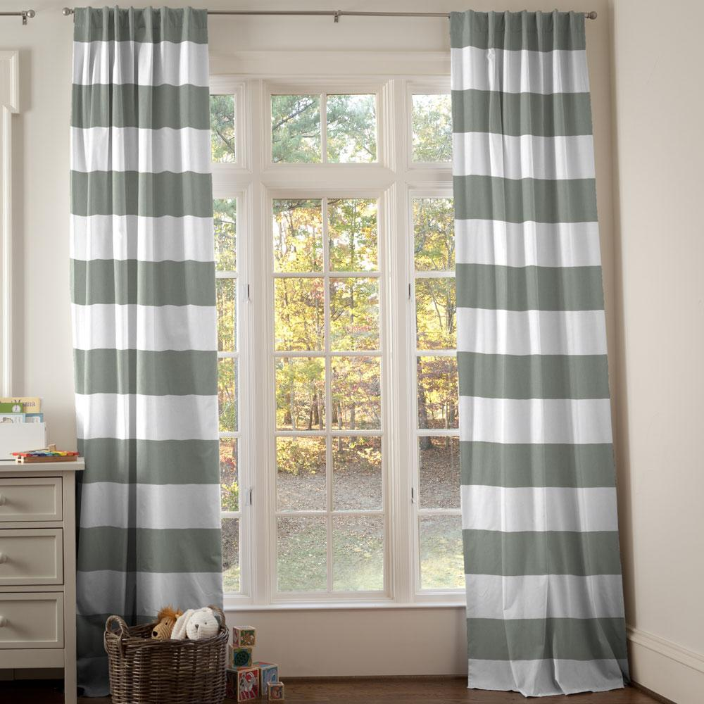 Product image for Cloud Gray Horizontal Stripe Drape Panel