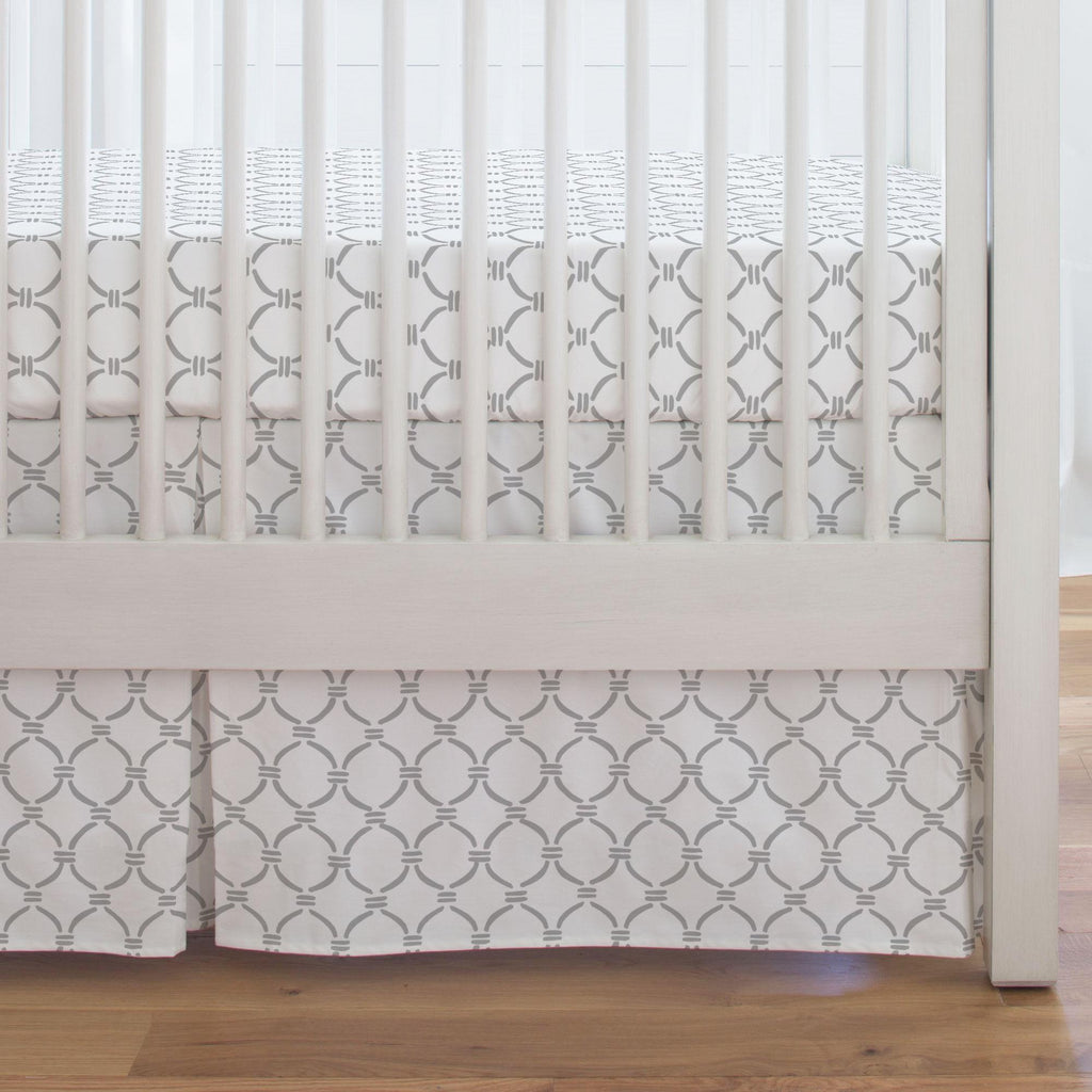 Product image for Silver Gray Lattice Circles Crib Skirt Single-Pleat