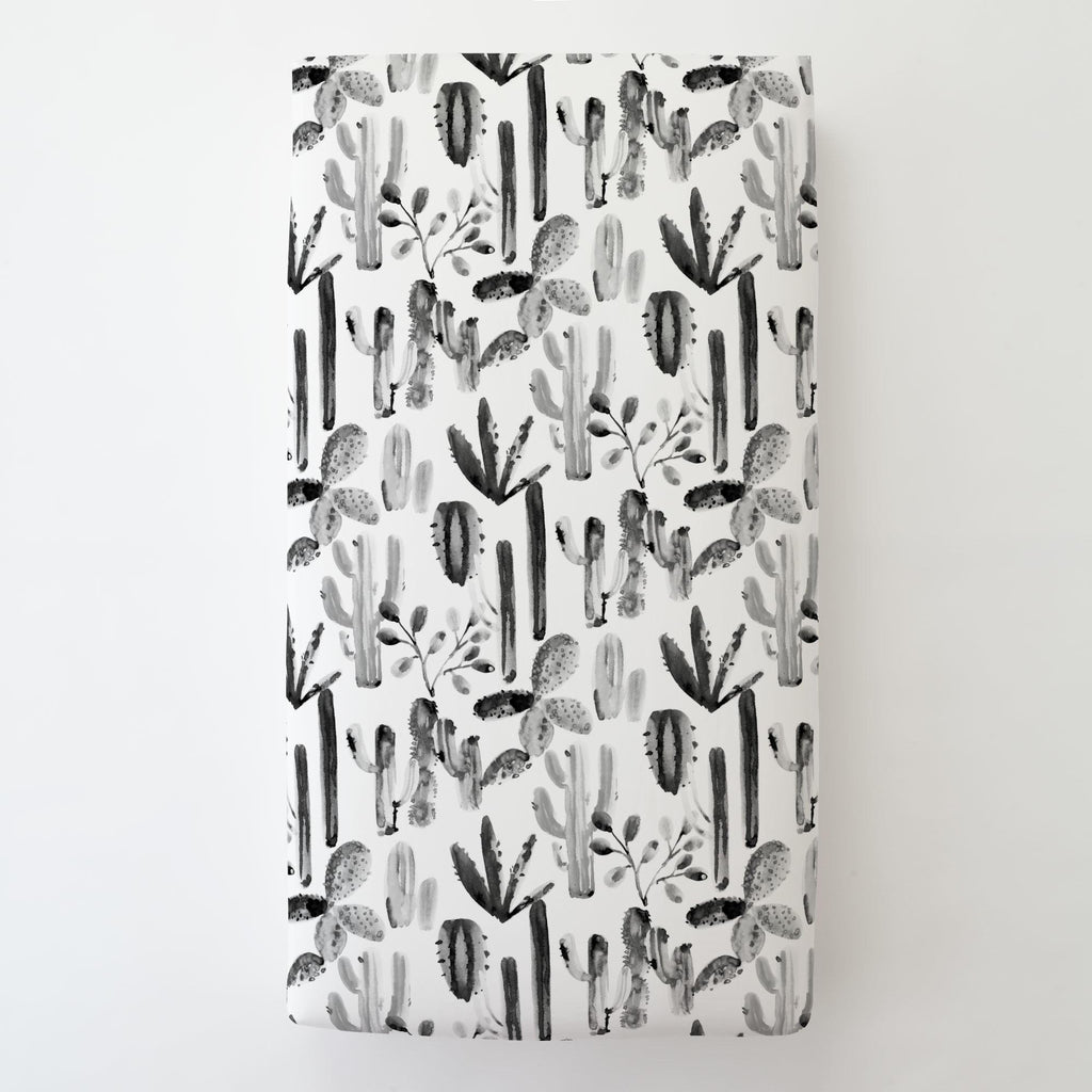 Product image for Charcoal Painted Cactus Toddler Sheet Bottom Fitted