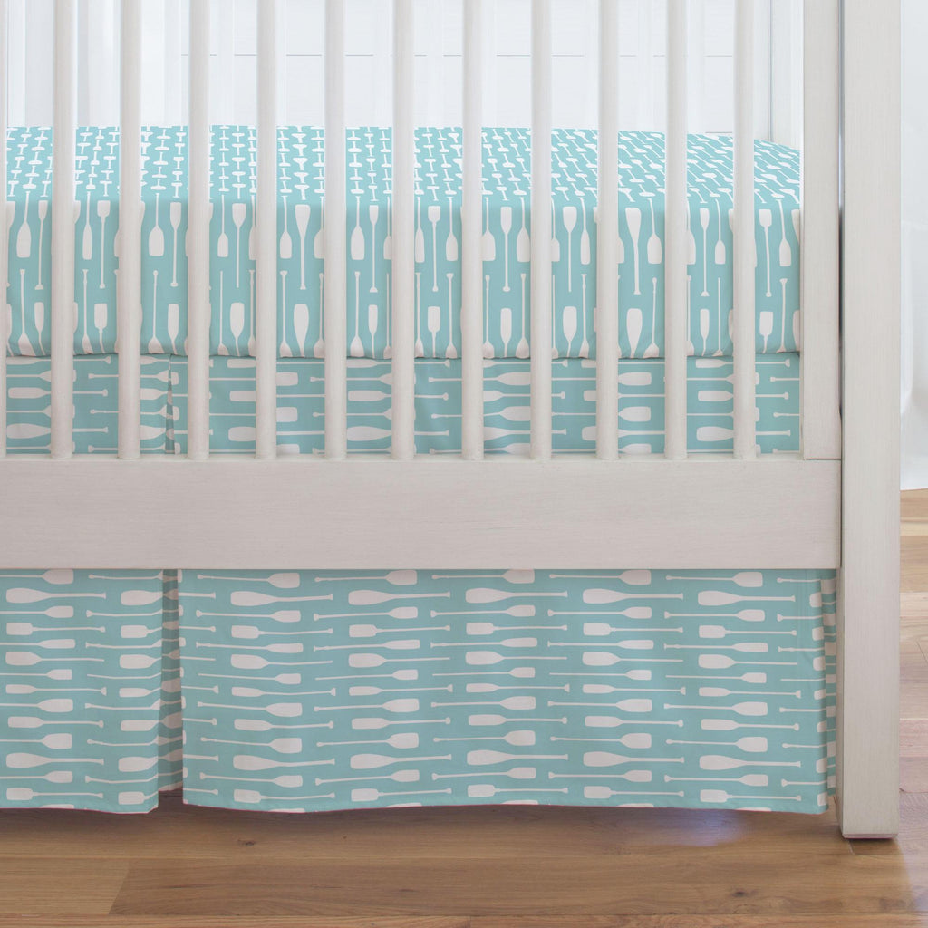 Product image for Seafoam Aqua and White Oars Crib Skirt Single-Pleat