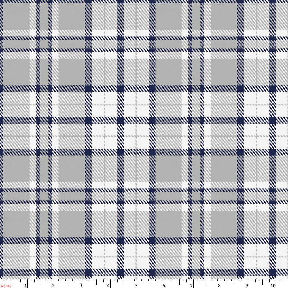 Product image for Navy and Gray Plaid Fabric
