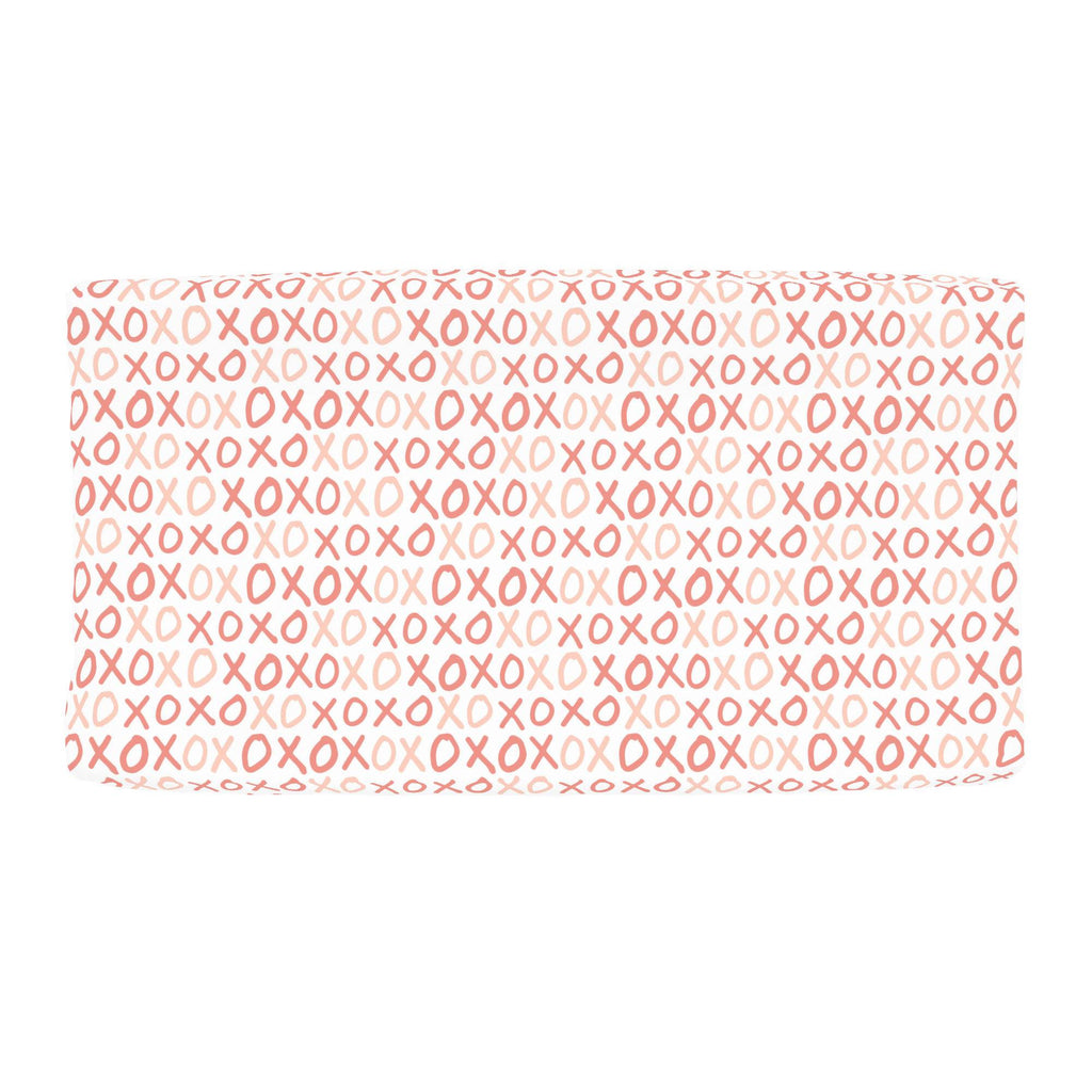 Product image for Light Coral and Peach XO Changing Pad Cover