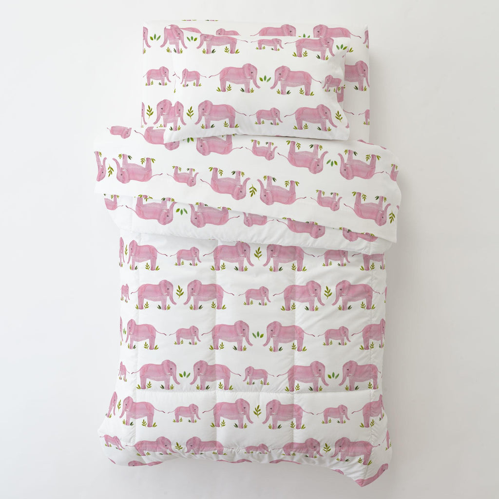 Product image for Pink Painted Elephants Toddler Pillow Case with Pillow Insert