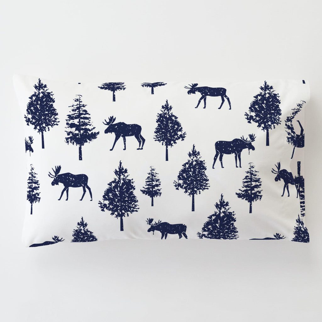 Product image for Navy Moose Toddler Pillow Case