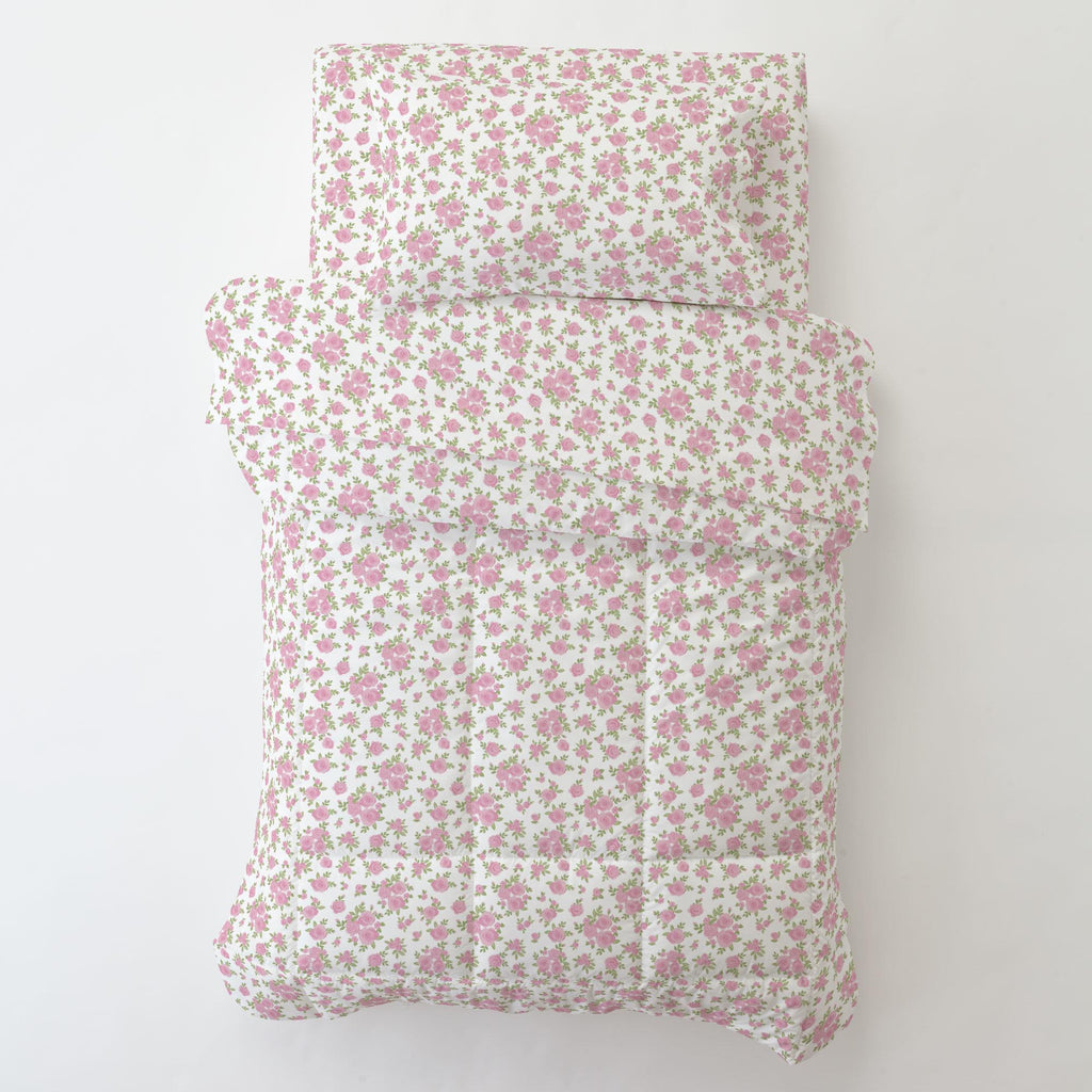 Product image for White and Pink Rosettes Toddler Comforter