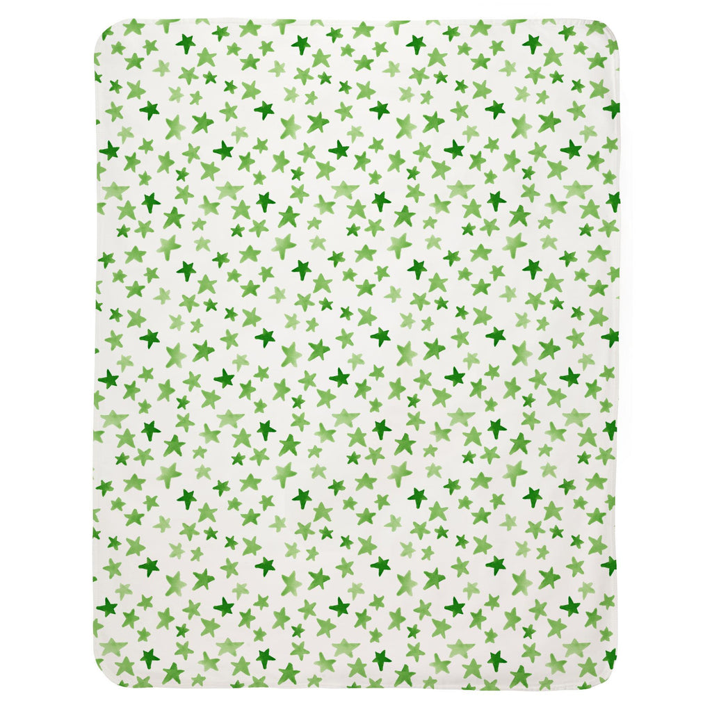 Product image for Green Watercolor Stars Baby Blanket