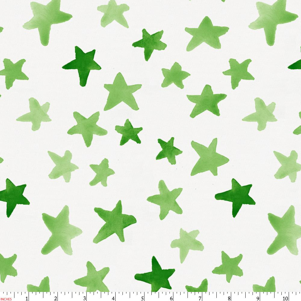 Product image for Green Watercolor Stars Fabric