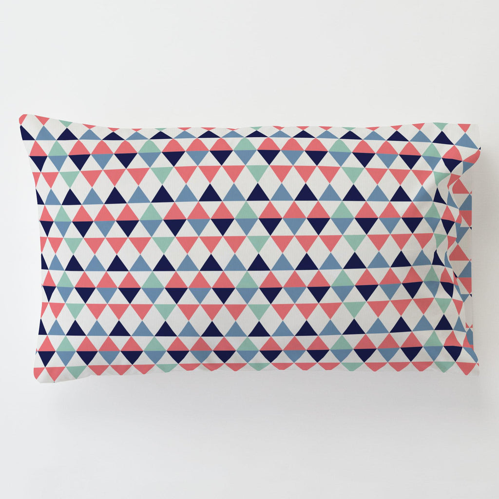 Product image for Coral and Mint Triangles Toddler Pillow Case