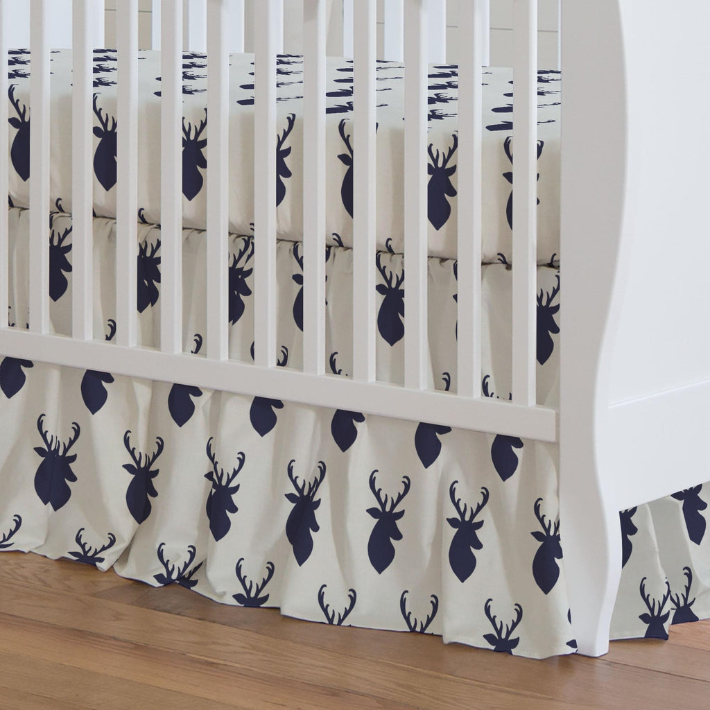 Product image for Windsor Navy Deer Head Crib Skirt Gathered