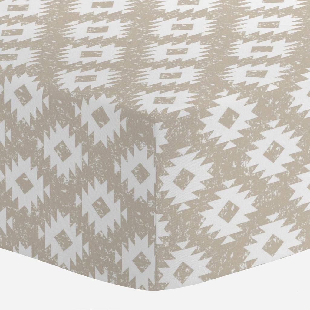 Product image for Taupe and White Aztec Mini Crib Sheet