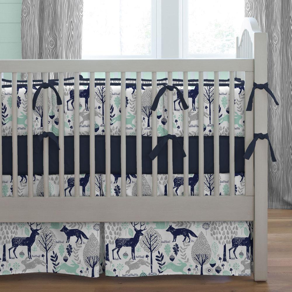 Product image for Navy and Mint Woodland Animals Crib Bumper