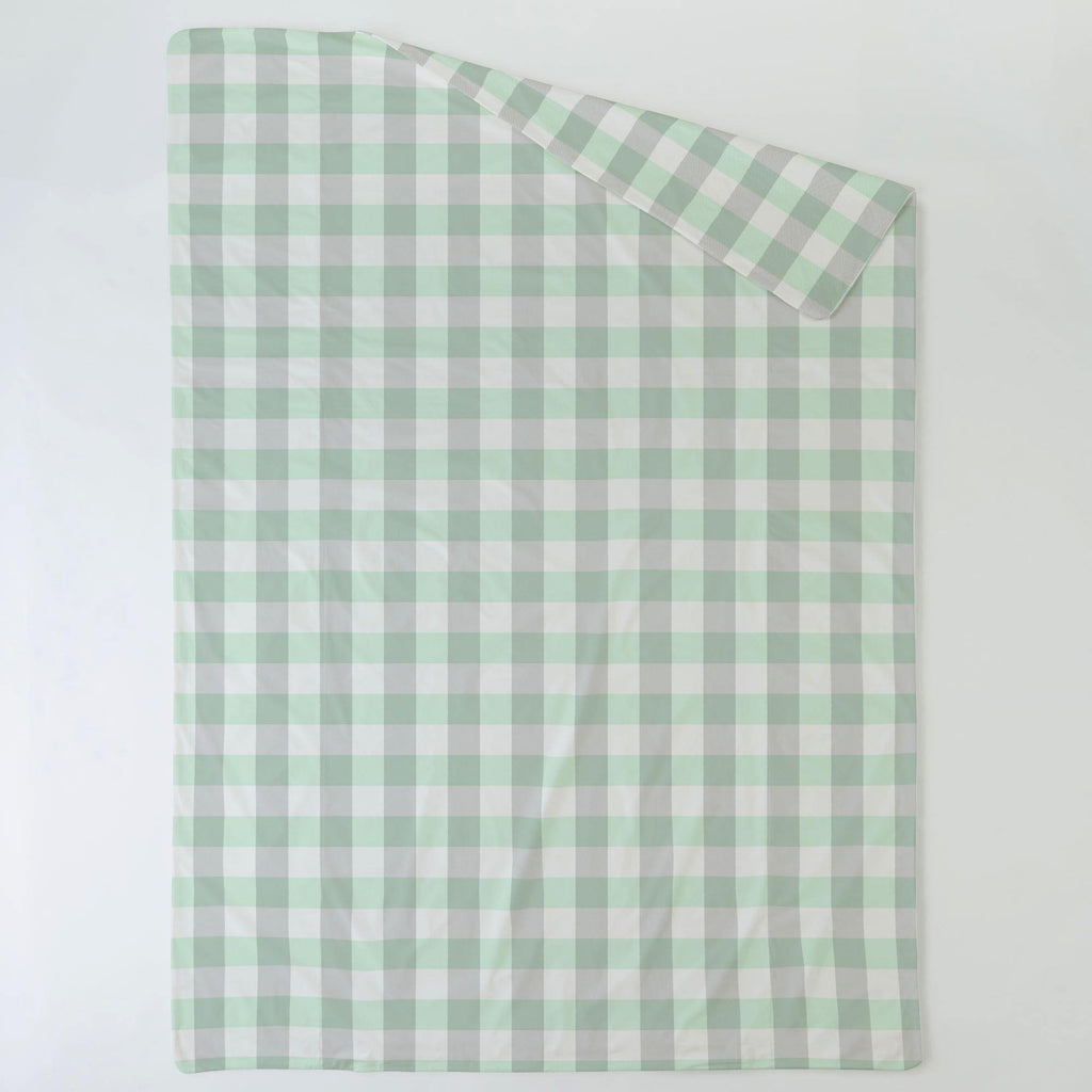 Product image for Mint and Gray Buffalo Check Duvet Cover