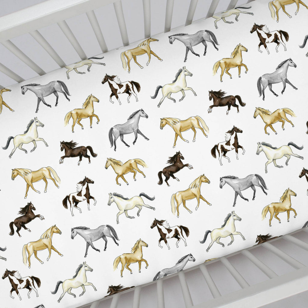 Product image for Watercolor Horses Crib Sheet