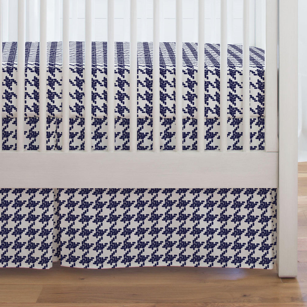 Product image for Windsor Navy Modern Houndstooth Crib Skirt Single-Pleat