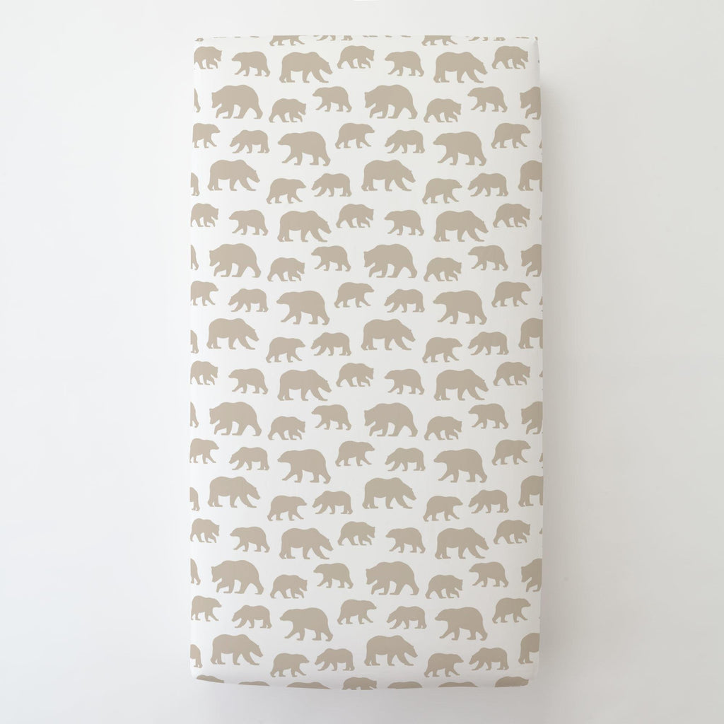Product image for Taupe Bears Toddler Sheet Bottom Fitted