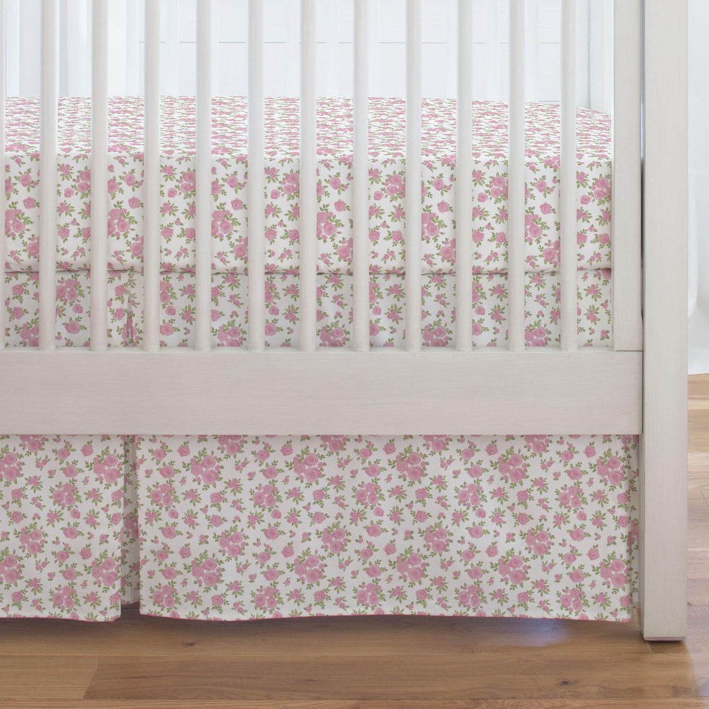 Product image for White and Pink Rosettes Crib Skirt Single-Pleat