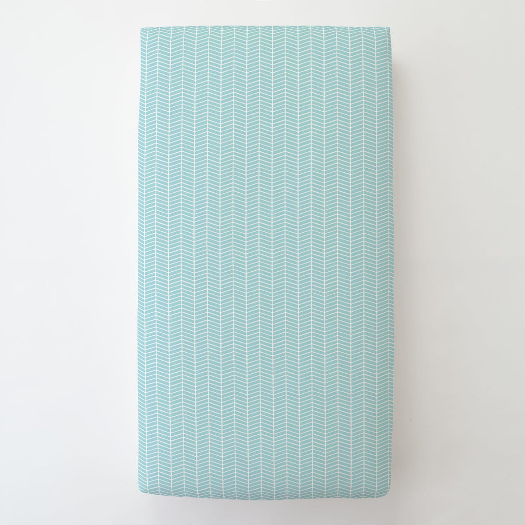 Product image for Seafoam Aqua Herringbone Toddler Sheet Bottom Fitted