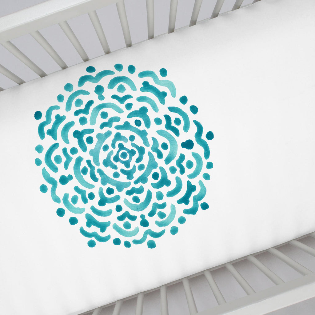Product image for Teal Medallion Centerpiece Crib Sheet