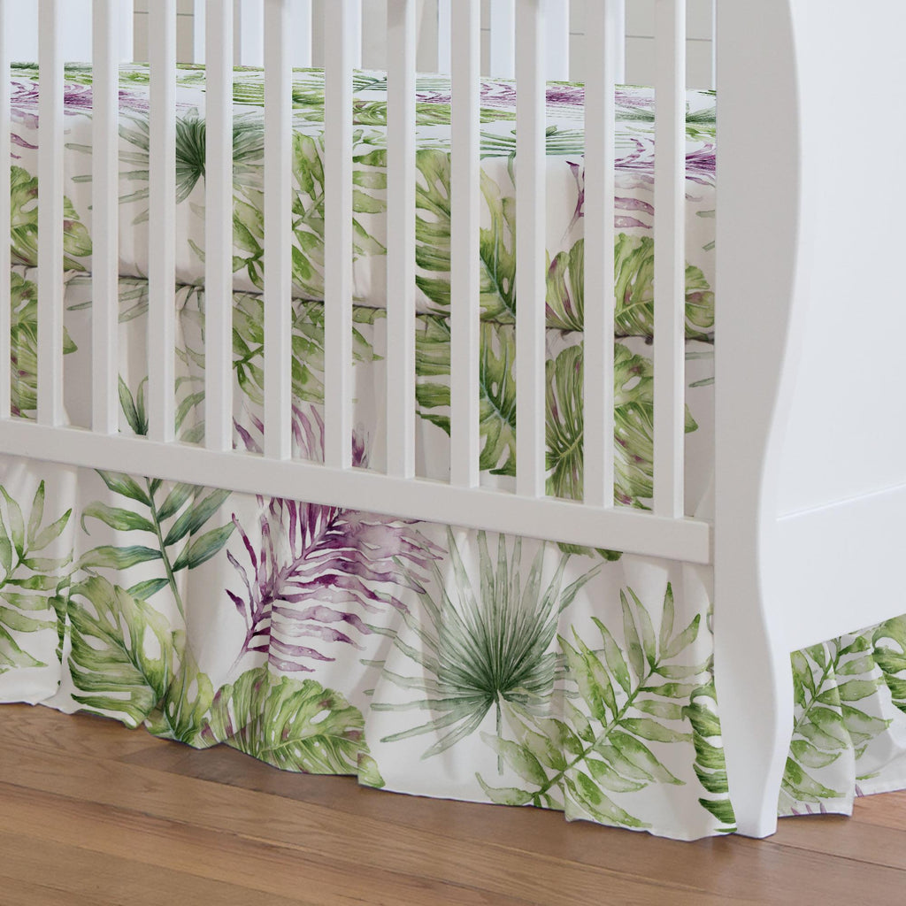 Product image for Purple Painted Tropical Crib Skirt Gathered